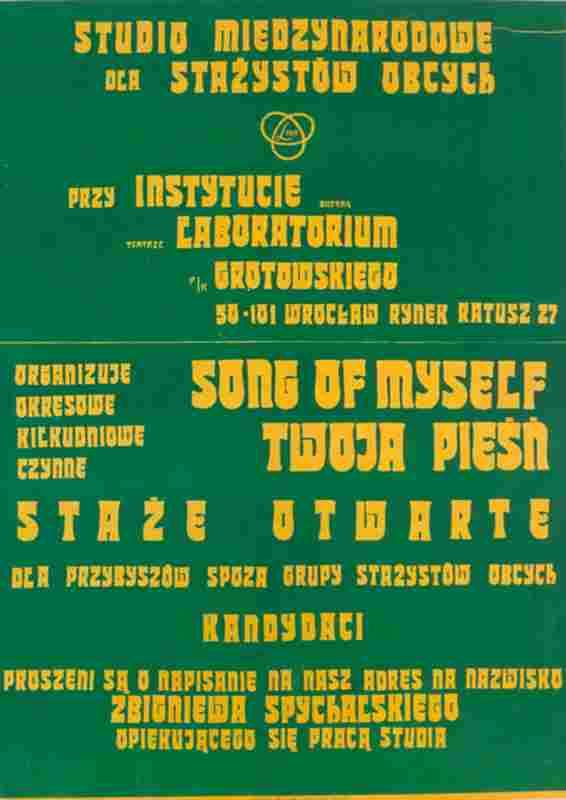 "Plakat ""Song of Myself/Twoja Pieśń"""